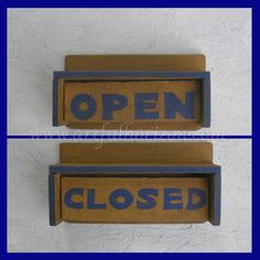 Primitive Folk Art Open Closed Flip Sign Wood by ArtfulHorizon