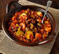 You need to try this sumptuous vegetarian casserole, which is food heaven for veggie lovers - a mediterranean one-pot stew with peppers, courgettes, lentils, sweet smoked paprika and thyme! Bbc Good Food Recipes, Veggie Recipes, Vegetarian Recipes, Cooking Recipes, Healthy Recipes, Vegetarian Stew, Cooking Time, Healthy Food, Vegetarian Casserole