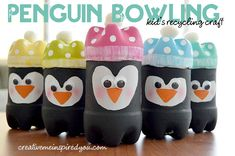 Bowling for Recycled Penguins - CreativeMeInspiredYou.com crafts, recycle, upcycle, kids crafts, kids game, DIY, fun crafts, children's crafts, cute crafts, DIY games, soda bottle crafts