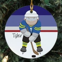 personalized ceramic hockey christmas ornament