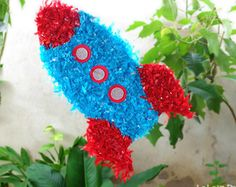Spaceship Rocket Ship Stars and Outer Space Astronaut Hit Pinata Birthday Party Theme Game and Decoration