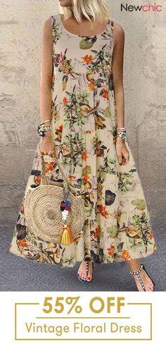 clothes Vintage Floral Print Sleeveless Crew N - Belted Shirt Dress, Tee Dress, Sleeveless Dresses, Maxi Dresses, Vintage Style Dresses, Elegant Dresses, Dress Vintage, Vintage Bags, Maxi Robes