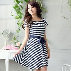 Tie-Waist Striped Dress