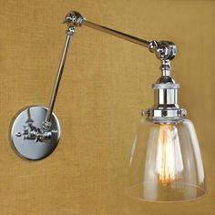 Modern Silver Swing Arm Clear Glass Wall Lighting Lamp Indoor Wall Sconce Light #Baycheer #Modern