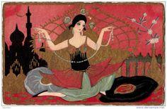 ART DÉCO : PORTRAIT de JEUNE FEMME ORIENTALE [ 1001 NUITS ? ] - SUPERBE ILLUSTRATION SIGNÉE: CHIOSTRI (j-988)