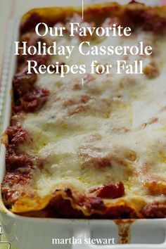 Start Christmas off early with one of these delicious and classic casserole holiday recipes for your weeknight dinner or holiday celebration. From family-favorites like green bean casserole to new dishes like wild mushroom and spinach lasagna. #marthastewart #holidayrecipes #holiday #christmascasserole #christmasrecipes #holidaydinner Bean Casserole, Sweet Potato Casserole, Casserole Recipes, Fall Recipes, Holiday Recipes, Drink Recipes, Christmas Casserole, Easy Bake Oven, Spinach Lasagna