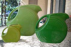 Green Fiesta disc pitcher comparison - Love the color comparison and the size comparison!