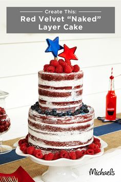 Bake yourself a festive sweet treat for your Memorial Day celebration! With just a few simple tools all available at Michaels, you can create this yummy layer cake that is sure to delight your friends and family. Aside from all the essential baking ingredients listed within, you'll just need disposable decorating bags, an angled spatula, lollipop sticks and jute string. This 'naked' cake provides the perfect pop of patriotic and is sure to be a favorite at your backyard BBQ!