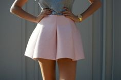 skirt short vintage gold pink fashion watch cute baby pink shell pink waist high highwaisted shorts cusual fancy pleated crisp solid pastel solid colour girly spring shorts pink, ballonskirt, beautiful