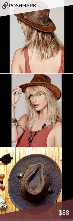 """Free People brown distressed leather Rancher Hat Free People brown distressed leather Henschel Topanga Rancher Hat with braided trim * 2 air vents on each side New Without Tags  *  Size:  Small  * this hat is a size Small and will fit an Average to Smallish size head  3"""" brim made in USA  Check out my other items! Be sure to add me to your favorites list! Free People Accessories Hats"""