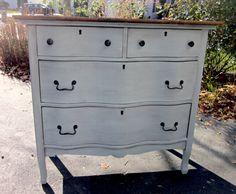 Gray Blue Vintage Serpentine Dresser via Etsy--- leave the top unpainted?