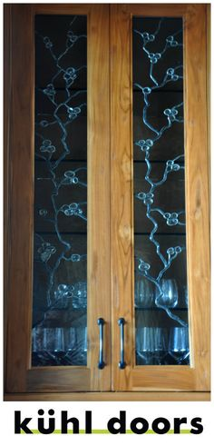 Custom made leaded glass cabinet inserts give your home a distinct and personal look. Simple designs all hand made. Types Of Cabinets, Living Room Cabinets, Glass Cabinet Doors, Custom Glass, Beautiful Places In The World, Leaded Glass, Dream Rooms, Cabinet Design, Glass Design