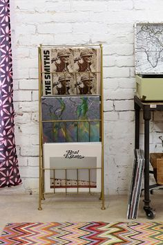 Corner Store Vinyl Storage Rack - Vintage -inspired metal storage rack perfect for all your vinyl LPs! 3 spacious shelves for maximum storing. Use it to stash periodicals, too! (aff link)