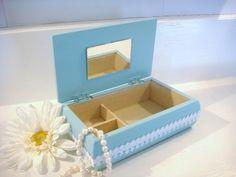 caixa de jóias de madeira caixa de jóias azul espelhada por NiftyandThriftyFinds