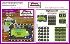 Video Gamer Birthday Party Invitation and/or Party Package #video #gamer #birthday #invitation #party #package @etsy