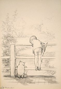 Sotheby's to Auction The Most Famous Book Illustration of the Century: E. Shepard's original ink drawing of Winnie-the-Pooh, Christopher Robin and Piglet on the 'Poohsticks' bridge From A. Milne's celebrated The House on Pooh Corner Winnie The Pooh Drawing, Winnie The Pooh Quotes, Vintage Winnie The Pooh, Karma Frases, Eh Shepard, Hundred Acre Woods, Posca Art, Cartoon Kunst, Poses References