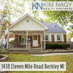 Just Listed | 1438 Eleven Mile Road, Berkley, MI  Beautiful brick bungalow lovingly maintained by longtime owners in award winning Berkley school district! Great front sitting porch with recessed lighting and ceiling fan provides a warm welcome. Brand new carpet throughout almost entire home. Custom built shelving in living room and spacious, eat-in kitchen. Two bedrooms on entry level share a full bath, one has door wall to back deck. Huge master upstairs features updated en