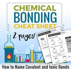 Chemical Bonding Cheat Sheet: How to Name Ionic and Covalent Bonds. Includes helpful hints, including how to use prefixes and how to tell the difference between an element and a polyatomic ion.