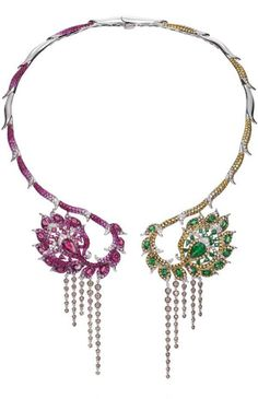 Open collar necklace with champagne diamonds, tsavourites, rubellite, pink sapphire, ruby, white diamonds and golden diamonds by Wendy Yue