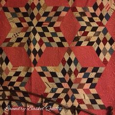 Laundry Basket Quilt of the Day - Antique Six Point Star #quiltoftheday #edytasitar #laundrybasketquilts