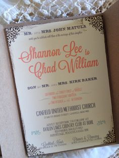 Coral and Mint Wedding Invitation with Rustic RSVP