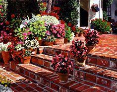 Warm Garden Patio - romantic oil on canvas by David Lloyd Glover