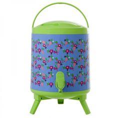 Getränkekühler / Wasserspender Plastic Cool Tank 8 Liter, Flower blau - Rice Denmark #water #cooler #dispenser #printed #flower