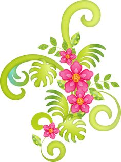 """Photo from album """"Flamingo Dreams"""" on Yandex. Cute Clipart, Flower Clipart, Flower Patterns, Flower Designs, Neon Png, Borders For Paper, Tropical Art, Luau Party, 3rd Birthday Parties"""