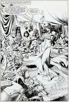 Original splash page by John Buscema (pencils) and Rudy Nebres (inks) from Conan the Barbarian #158, published by Marvel Comics, May 1984.