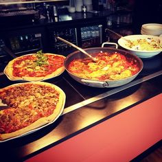 Just another Tuesday lunch at the Aberystwyth Arts Centre Piazza Café. Pizzas, Cous-cous, Chicken parmigiane... drool.