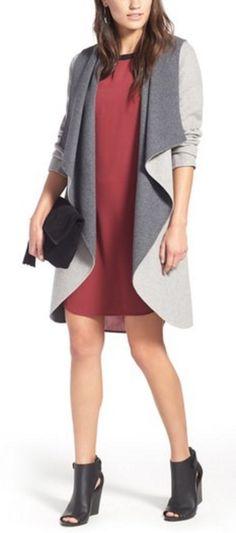 Wool blend, hooded, reversible, wrap coat