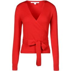 Diane Von Furstenberg Cardigan ($180) ❤ liked on Polyvore featuring tops, cardigans, sweaters, shirts, outerwear, red, v neck long sleeve shirt, v neck shirts, red v neck shirt and v-neck tops