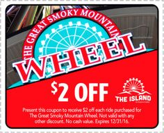 Discount! Print coupons for The Island in Pigeon Forge, TN