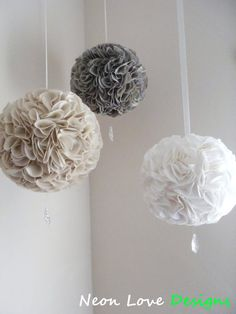 Three Fabric Pom Poms with Crystals by NeonLoveDesigns on Etsy