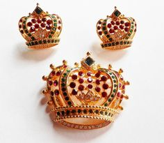 Kenneth Jay Lane Red Crown Set  S1973 by SCLadyDiJewelry on Etsy