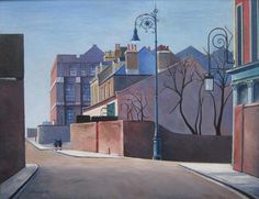 Lovely painting of Old Ford Road by Harold Steggles from via the East London Group, which features paintings by the group before the Second World War. Camden London, London Art, East London, Camden Town, London Painting, Brick Lane, Old Fords, Irish Art, Building Art