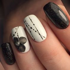 Black and white nail art flower