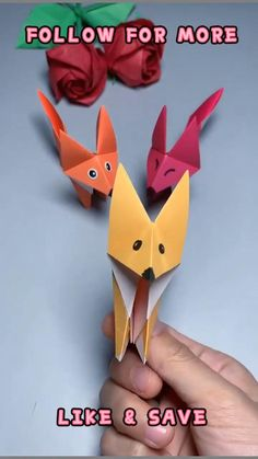 Paper Folding Crafts, Paper Crafts Origami, Paper Crafts For Kids, Origami Art, Simple Paper Crafts, Origami Gifts, Origami Bookmark, Easy Crafts, Simple Origami For Kids