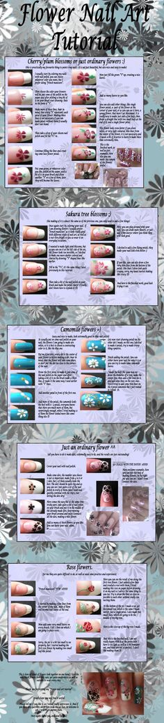 Some flower nail art tutorials! I run a blog with DIY&tutorials about everything: Hair, nail, make-up, clothes, baking, decorations and much more! My blog adress is: http://tuwws.blogspot.se/