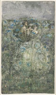 'Love in a Mist' by James Herbert McNair, early 1900s. http://www.liverpoolmuseums.org.uk/walker/exhibitions/doves/liverpool1900/love_mist_mcnair.aspx
