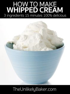 Homemade whipped cream tastes better than store-bought and is a breeze to make. All you need is a bowl, an electric mixer and 15 minutes. Perfect as frosting for cupcakes and cakes, topping for ice cream sundaes and pancakes, use as base for homemade ice cream and no-bake cheesecakes! #nofailrecipe #homemadewhippedcream #frostingrecipe Berry Cheesecake, Easy Cheesecake Recipes, Frosting Recipes, Ice Cream Toppings, Ice Cream Flavors, Ice Cream Recipes, Easy Homemade Ice Cream, How To Make Homemade, Dessert Ideas