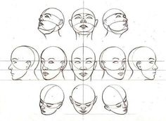 positions of the head and face -Drawing tutorial Anatomy Sketches, Anatomy Drawing, Art Drawings Sketches, Human Anatomy, Drawing Lessons, Drawing Techniques, Drawing Tips, Art Reference Poses, Drawing Reference