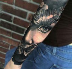 Tattoo women face with Butterflies   #Tattoo, #Tattooed, #Tattoos
