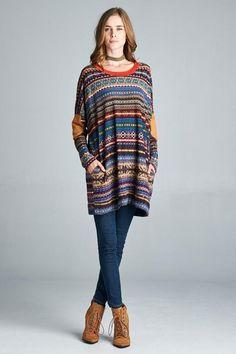 4e369b2677a4 Striped Boho Sweater Loose Sweater