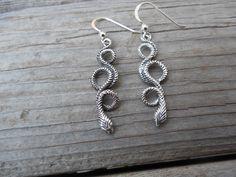 Snake earrings handmade in sterling silver by Billyrebs on Etsy