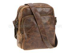 Bear Design VEGAS - Leder Herrentasche mit Tabletfach Umhängetasche hoch Tasche - antikbraun
