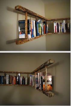 old ladder bookshelves - Haus Design Bunk Bed Ladder, Ladder Bookshelf, Old Bookcase, Billy Bookcases, Glass Bookshelves, Hanging Bookshelves, Library Shelves, Big Book Storage, Wall Storage