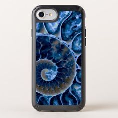 Electric Blue Nautilus Art Speck iPhone Case - modern gifts cyo gift ideas personalize