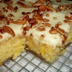 """THE ORIGINAL """"EASIEST PINEAPPLE CAKE"""" - Ingredients 2 c all purpose flour 2 c sugar 2 eggs 1 tsp baking soda 1 tsp vanilla pinch salt 1 – 20 oz can of crushed pineapple ( undrained ) in it's own juice – not syrup 1 c chopped nuts, optional CREAM … Easiest Pineapple Cake Recipe, Easy Pineapple Cake, Pineapple Recipes, Crushed Pineapple Cake, Pineapple Sheet Cake Recipe, Pineapple Frosting, Pineapple Cupcakes, Cantaloupe Recipes, Pineapple Desserts"""