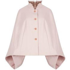 Ted Baker Embellished Collar Cape, Pale Pink (4 015 ZAR) ❤ liked on Polyvore featuring outerwear, coats, capes, jackets, pink cape coat, sleeveless cape, ted baker, cape coat and pink cape